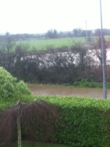 The flooded road and fields outside my house.
